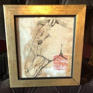 Signed Mongolia Horse Sketch Framed